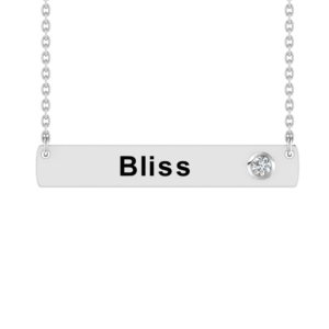 Solid Sterling Silver Horizontal Flat Bar Necklace with White CZ on 18 inch Rope Chain