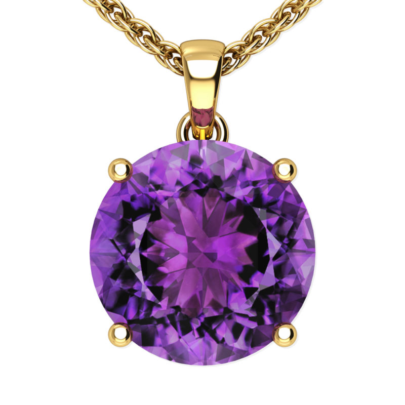 "14K Yellow Gold Round Shape 18"" Singapore Necklace in 10mm Amethyst"