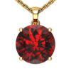 """14K Yellow Gold Round Shape 18"""" Singapore Necklace in 10mm Garnet"""