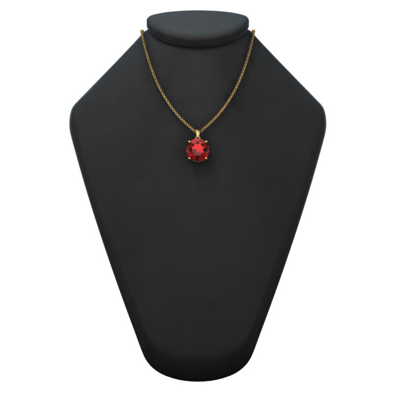 "14K Yellow Gold Round Shape 18"" Singapore Necklace in 10mm Garnet"