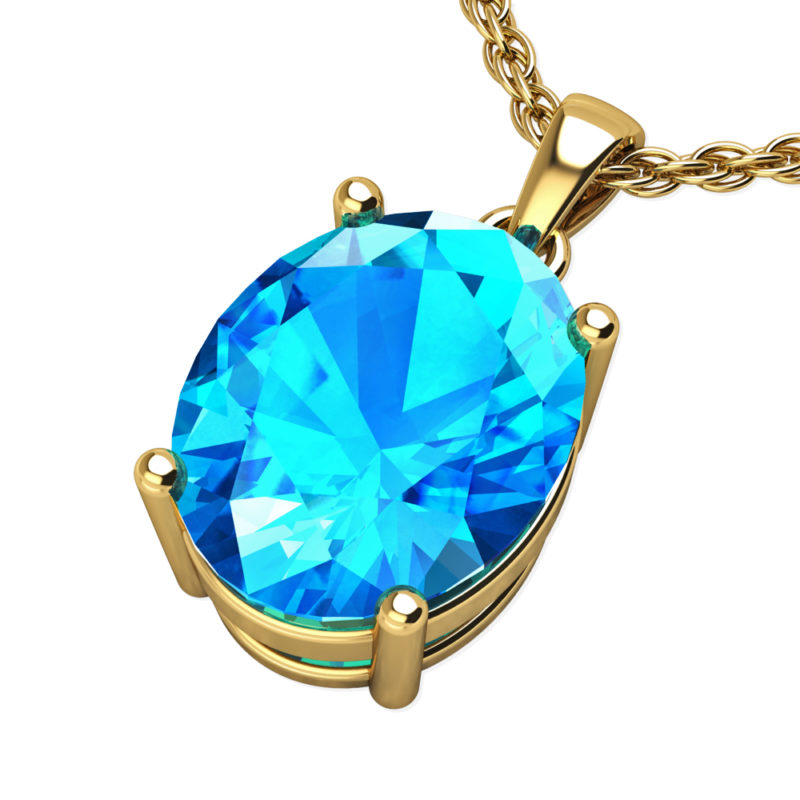 "14K Yellow Gold Oval Shape 18"" Singapore Necklace in 8x10mm in Swiss Blue Topaz"