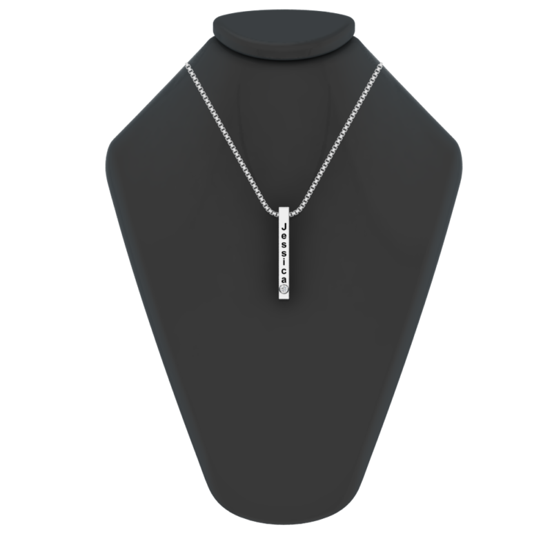 Solid Sterling Silver 3D Vertical Bar Necklace with White CZ and Personalized Engraving