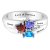 Solid Sterling Silver 2 CT Personalized Three Heart Cluster Ring with Birthstone Colored CZs for Women
