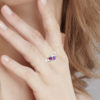 Solid Sterling Silver 1.5 CT Personalized Double Heart Cluster Ring with Birthstone Colored CZs for Women