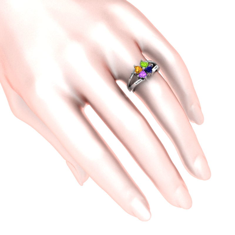 Solid Sterling Silver 2.8 CT Personalized Four Heart Cluster Ring with Birthstone Colored CZs for Women