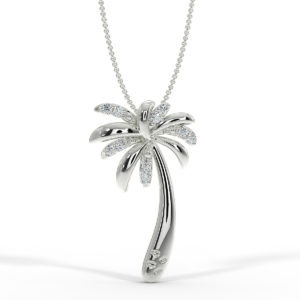 Solid Sterling Silver Tropical Palm Tree Necklace in Diamond