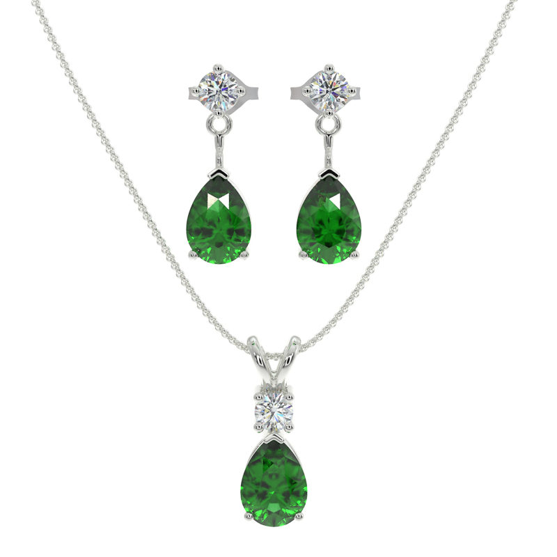 Sterling Silver Jewelry Set for Women with Emerald and Natural White Topaz Pendant Necklace and Matching Stud Earrings