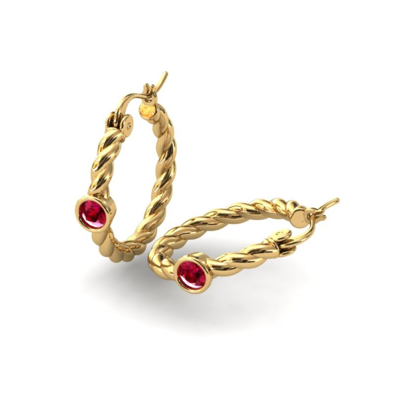 gold filled twisted hoops with CZ