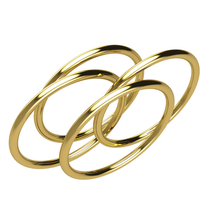 Dainty and Delicate Brass 1mm Stackable Four Ring Set for Women