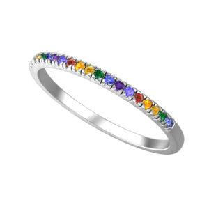 RSR 0938 rainbow CZ band ring