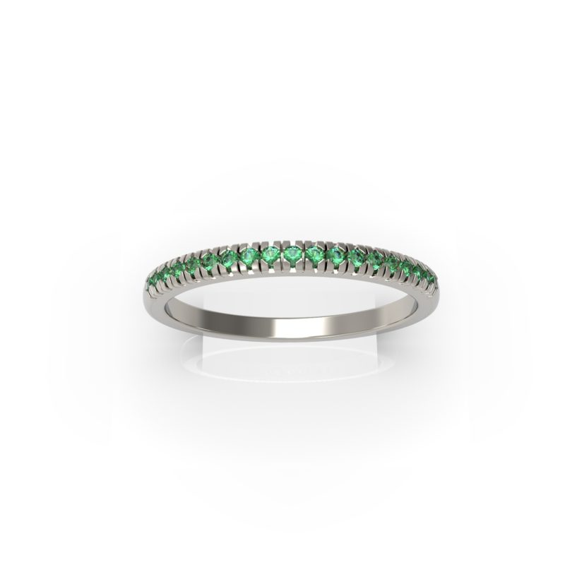 Solid Sterling Silver Dainty & Delicate Emerald Band Ring for Women RSR 0938 EM