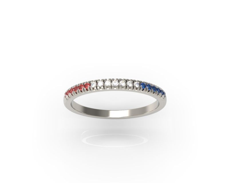 Solid Sterling Silver Red, White, and Blue Delicate & Dainty Band Ring for Women