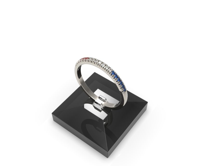 Solid Sterling Silver Red, White, and Blue Delicate & Dainty Band Ring for Women RSR 0938