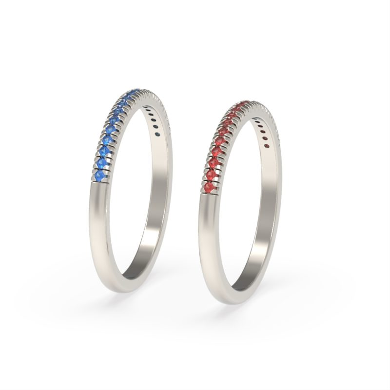 Sterling Silver Stacking Rhodolite Garnet and Blue CZ Ring 0938