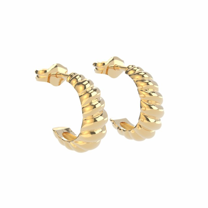 gold shaped hoops vermeil