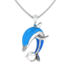 Sterling Silver Diving Dolphin with Mother of Pearl