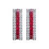 Solid Sterling Silver Dual White and Ruby Sapphire Earrings rse 0389