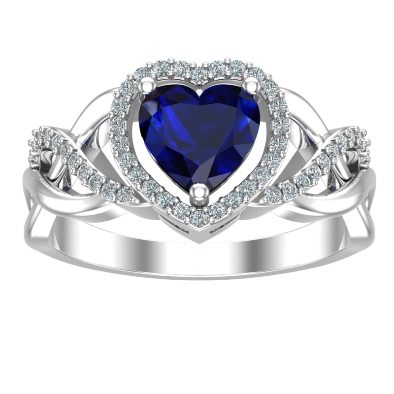 Elegant Solid Sterling Silver Heart Ring in Blue Sapphire