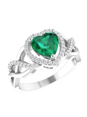 Elegant Emerald Green Heart Ring in Solid Sterling Silver